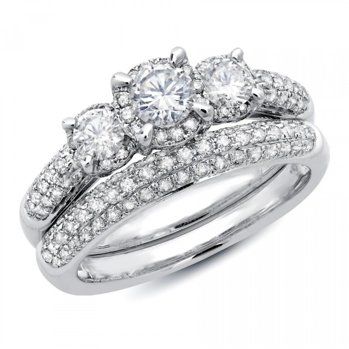 1 1/2 Ct. T.W. Three Stone 14k White Gold Wedding Set