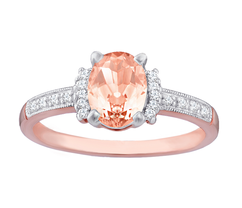 Morganite and Rose Gold with Diamond Accents Engagement Ring