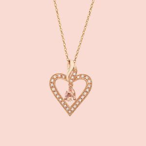 Morganite Heart Rose Gold Necklace