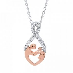 14K GOLD TWO-TONE ROSE GOLD AND DIAMOND MOTHER-CHILD NECKLACE