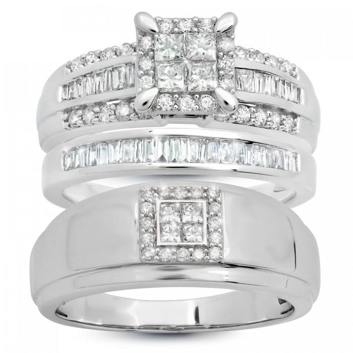 14K WHITE GOLD 1.17 CT. T.W. PRINCESS SHAPE WITH FOUR STONE MEN'S BAND WEDDING TRIO Don Roberto