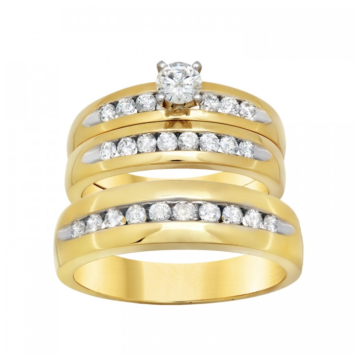18K YELLOW GOLD ROUND CENTER CHANNEL SETTING WEDDING TRIO Don Roberto