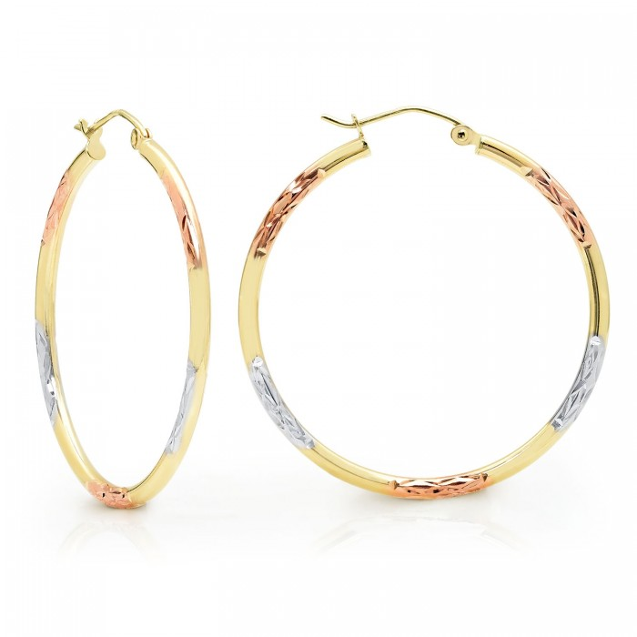 14k Gold Tri-Color Cut Hoop Earrings