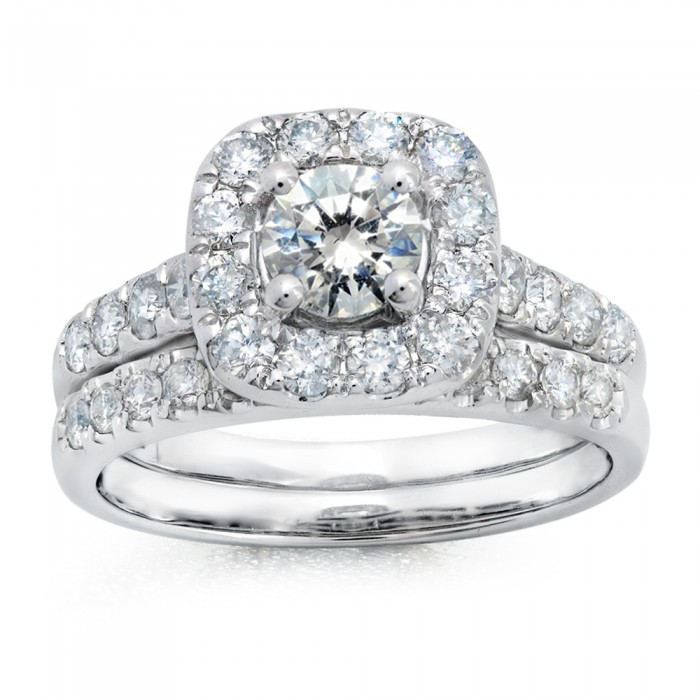 14K WHITE GOLD ROUND CUT CUSHION HALO WEDDING SET