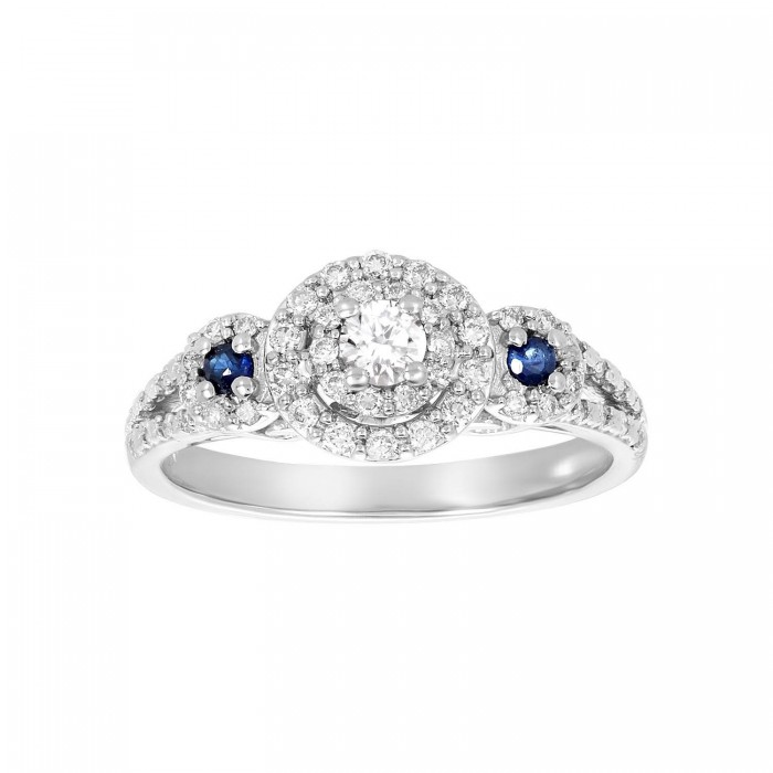 14K WHITE GOLD VINTAGE DIAMOND AND SAPPHIRE ENGAGEMENT RING