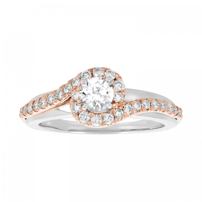 14K TWO TONE GOLD WITH ROSE GOLD SWIRL ROUND CUT ENGAGEMENT RING