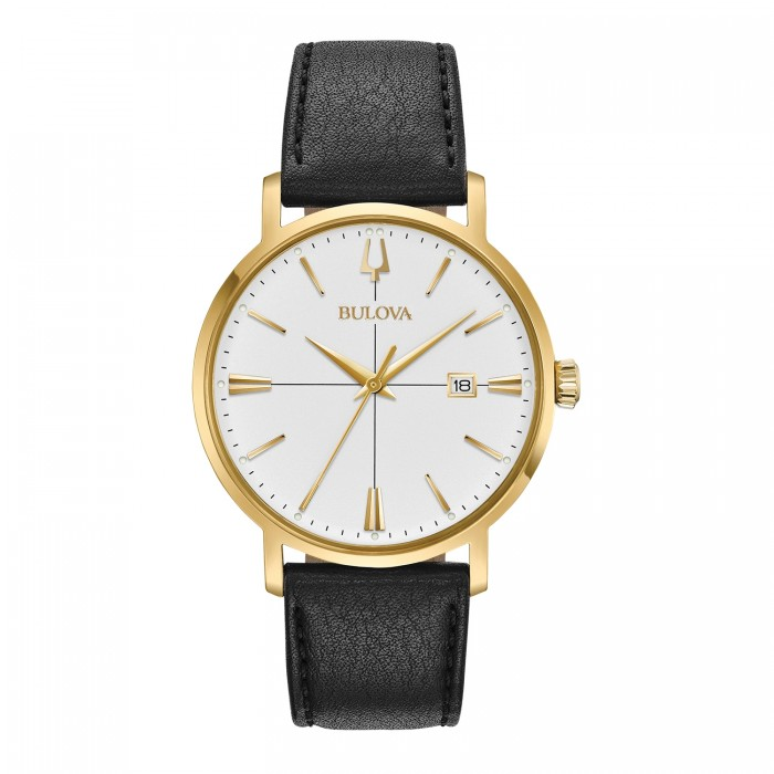MEN'S BULOVA GOLD-TONE BLACK LEATHER STRAP AEROJET COLLLECTION WATCH