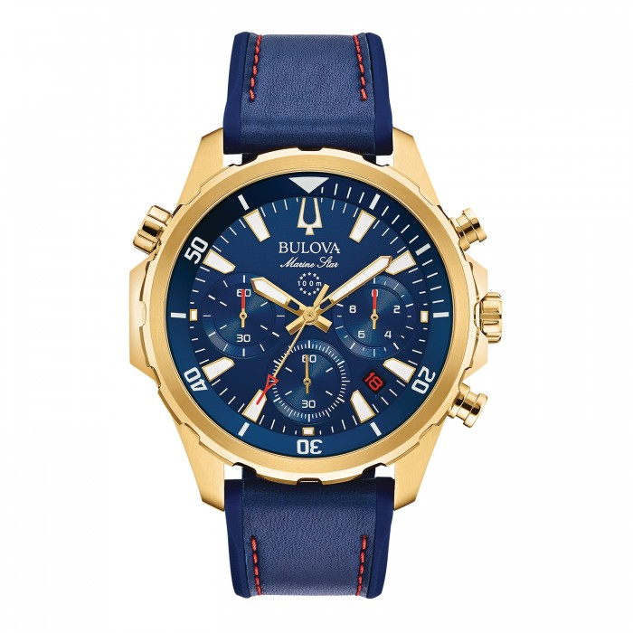 MEN'S BLUE AND YELLOW GOLD-TONE MARINE STAR COLLECTION WATCH