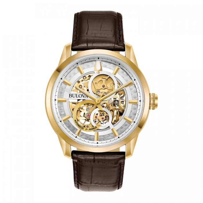 MEN'S BULOVA SUTTON AUTOMATIC SKELETON DIAL LEATHER WATCH