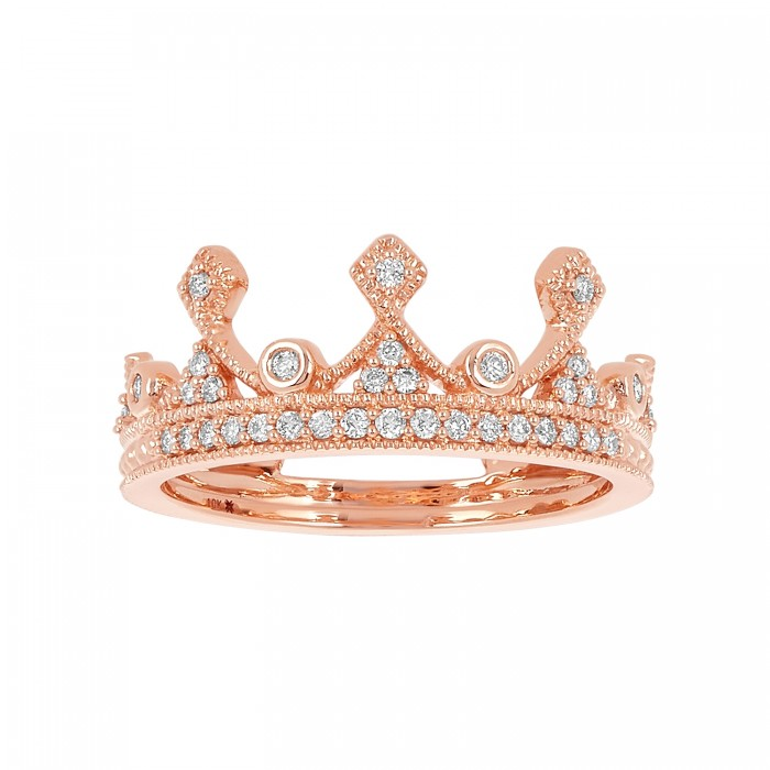 10K ROSE GOLD THE QUEEN CROWN RING