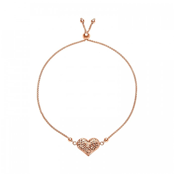 14K ROSE GOLD DIAMOND CUT HEART ADJUSTABLE BRACELET