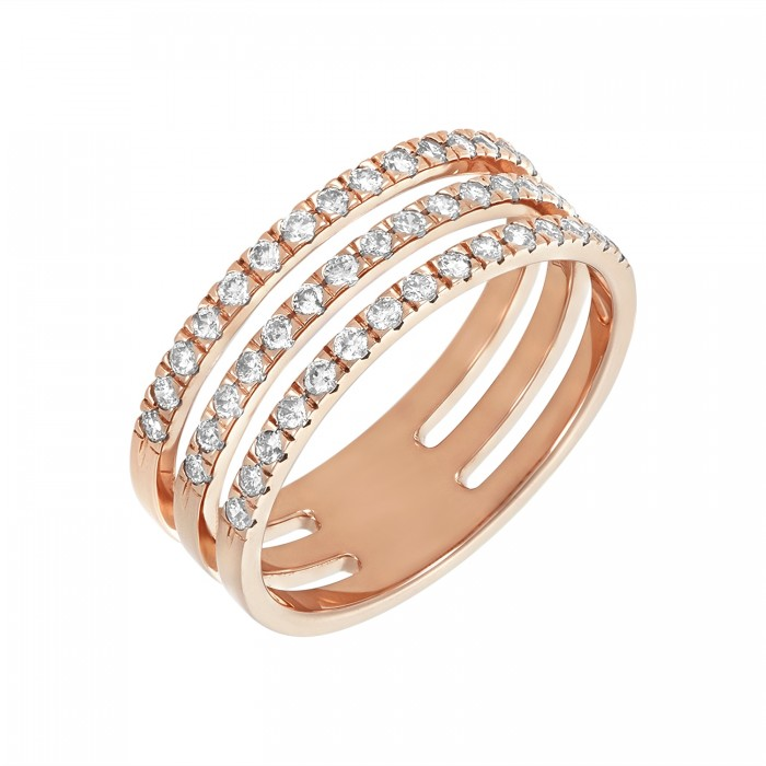 14K ROSE GOLD THREE BAND DIAMOND RING